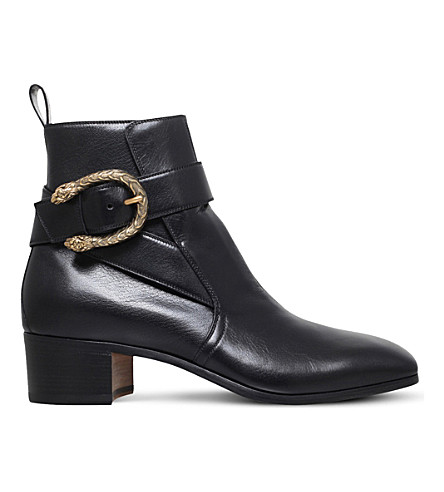 GUCCI New Zealand tiger-head leather boots (Black