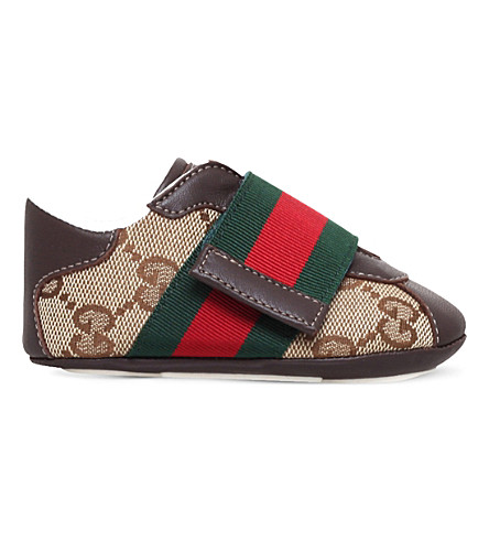 GUCCI Icon logo canvas and leather trainers 0-12 months (Brown