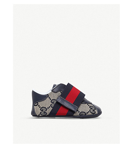GUCCI Icon canvas and leather trainers 0-12 months (Navy