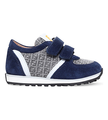 FENDI Mimosa suede lo-top sneakers 6months-4 years (Navy