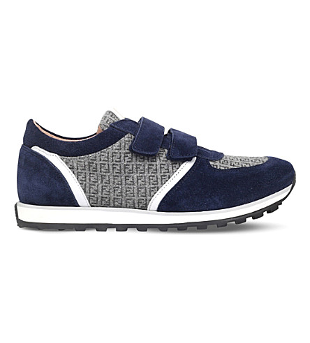 FENDI Mimosa suede lo-top trainers 9-10 years (Navy
