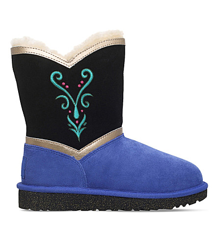 UGG Anna coronation sheepskin boots 6-9 years (Blk/blue