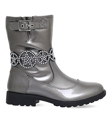 LELLI KELLY Ann patent-leather boots 6-10 years (Pewter