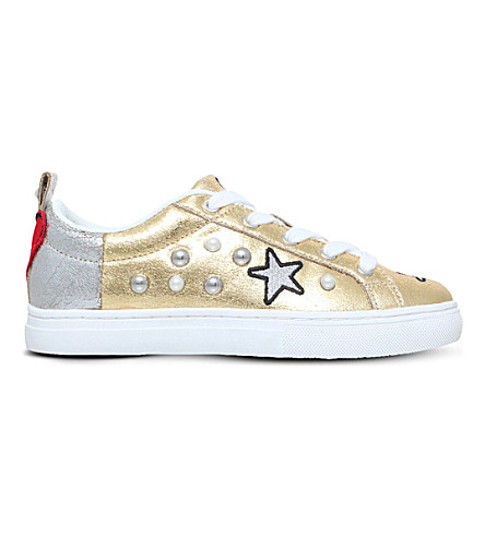 MINI MISS KG Loveheart metallic trainers 8-9 years (Gold