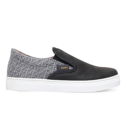 FENDI Aspen monogram-print suede skate shoes 6-11 years (Blk/grey