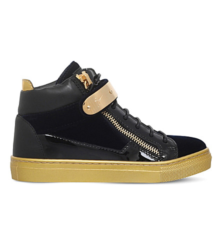 GIUSEPPE ZANOTTI Coby patent-leather and velvet trainers 4-8 years (Navy