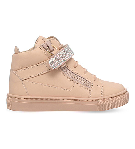 GIUSEPPE ZANOTTI Dolly embellished leather sneakers 2-4 years (Tan