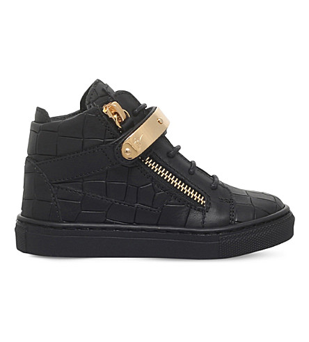 GIUSEPPE ZANOTTI Nicki croc-embossed leather sneakers 2-4 years (Black