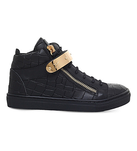 GIUSEPPE ZANOTTI Nicki croc-embossed leather trainers 4-7 years (Black