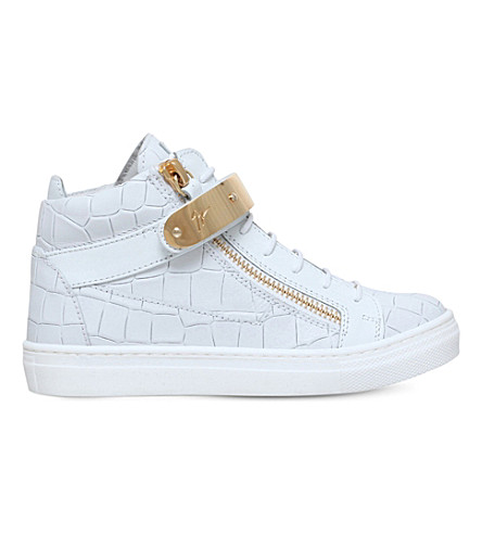 GIUSEPPE ZANOTTI Nicki croc-embossed leather sneakers 4-8 years (White