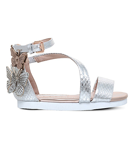 MINI MISS KG Flutterby embellished metallic sandals 3-7 years (Metal+comb