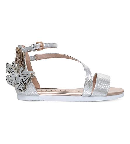 MINI MISS KG Flutterby embellished metallic sandals 7-10 years (Metal+comb