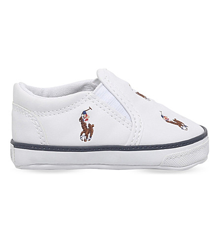 POLO RALPH LAUREN Harbour pony-motif leather trainers 0-12 months (White