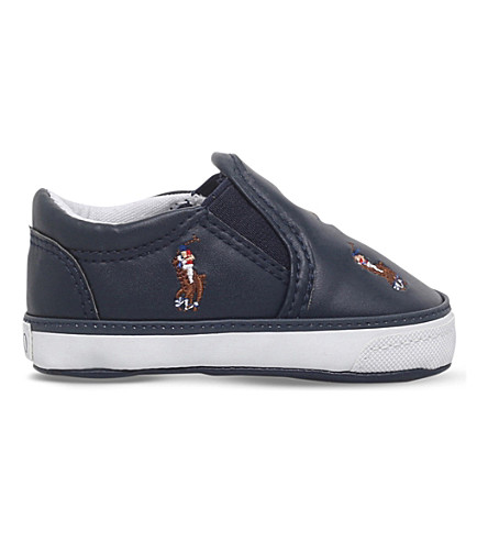 POLO RALPH LAUREN Harbour pony-motif leather trainers 0-12 months (Navy