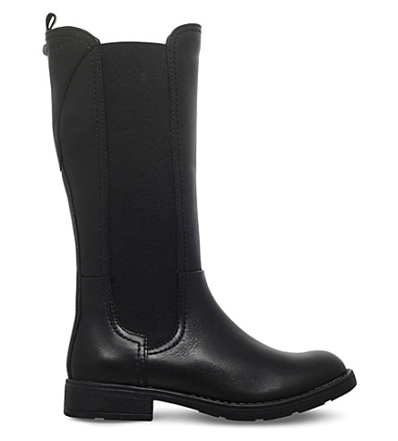 GEOX Sofia leather riding boots 6-7 years (Black