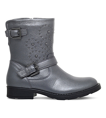 GEOX Sofia studded leather biker boots 7-10 years (Pewter