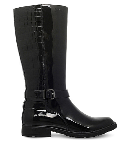 GEOX Sofia mock-croc patent-leather boots 7-11 years (Black