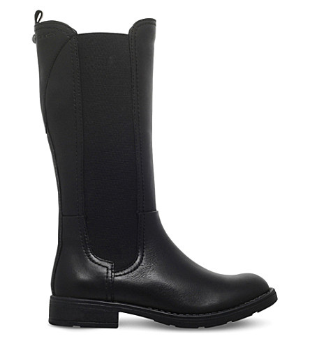 GEOX Sofia leather riding boots 7-11 years (Black