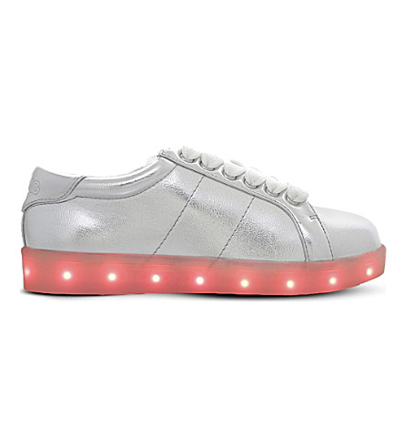 MINI MISS KG Lightning light-up metallic trainers 7-10 years (Silver