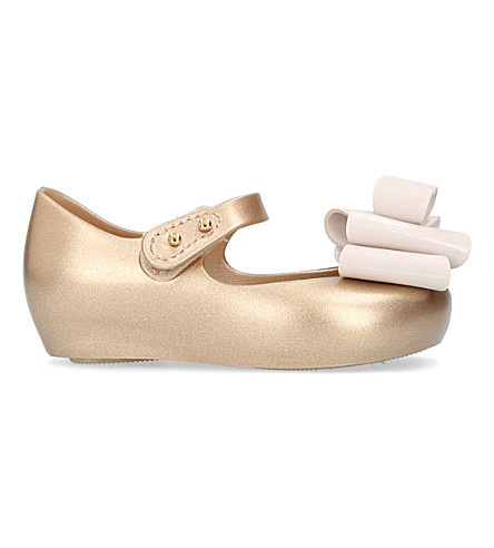 MINI MELISSA Ultragirl triple bow mary jane shoes 6 months - 5 years (Gold