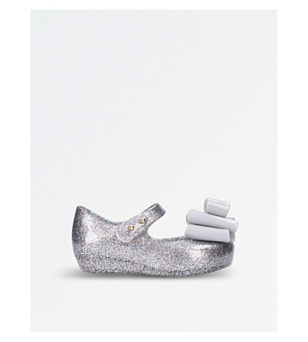 MINI MELISSA Ultragirl triple bow mary jane shoes 6 months - 7 years (Silver