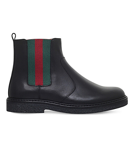 GUCCI Joshua leather chelsea boots 4-8 years (Black