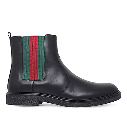 GUCCI Joshua leeather chelsea boots 8-10 years (Black
