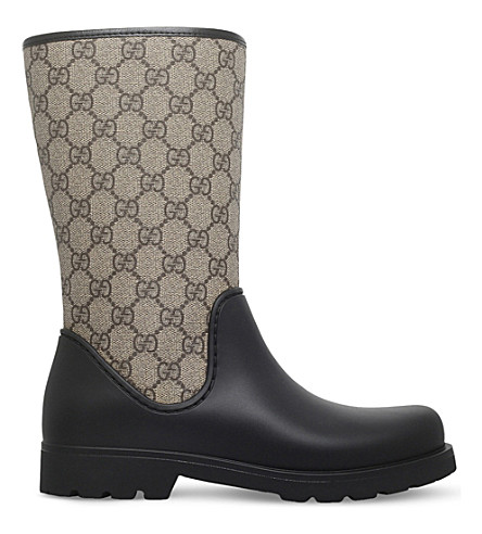 GUCCI Rainy GG supreme rain boots 8-10 years (Black