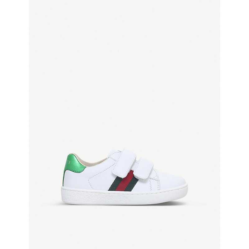GUCCI   Gucci New Ace VL Leather Trainers 4-8 Years, Size: EUR 26 / 8.5 UK KIDS, White   Goxip