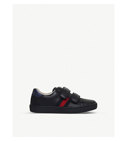 GUCCI New Ace VL leather sneakers 4-8 years (Black