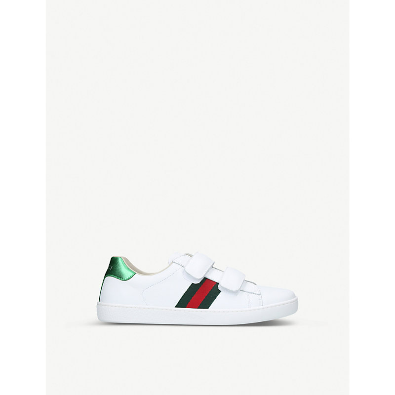 GUCCI   Gucci New Ace VL Leather Trainers 8-10 Years, Size: EUR 35 / 2.5 UK ADULT, White   Goxip
