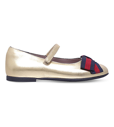 GUCCI Cindy metallic leather mary jane shoes 1-4 years (Gold