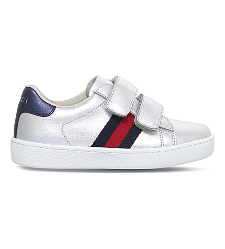 GUCCI New Ace VL metallic-leather trainers 1-5 years (Silver