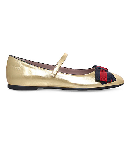 GUCCI Cindy metallic leather mary jane shoes 5-8 years (Gold