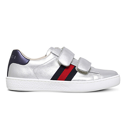 GUCCI New Ace VL metallic trainers 4-8 years (Silver