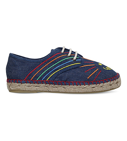 STELLA MCCARTNEY Rae embroidered denim espadrilles 6-11 years (Denim