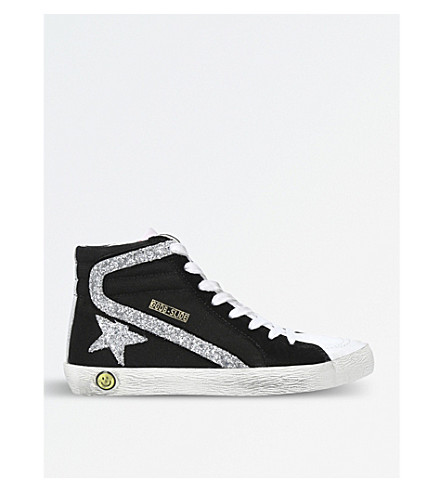 GOLDEN GOOSE Slide suede and glitter high-top trainers 6-9 years (Black