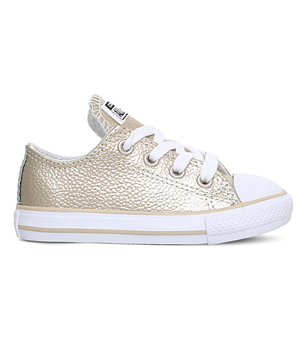 CONVERSE Chuck Taylor All Star low-top metallic leather trainers 2-5 years (Gold