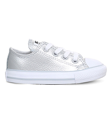 CONVERSE Chuck Taylor All Star low-top metallic leather sneakers 2-5 years (Silver