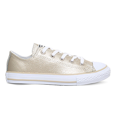 CONVERSE Chuck Taylor All Star metallic leather low-top trainers 6-9 years (Gold