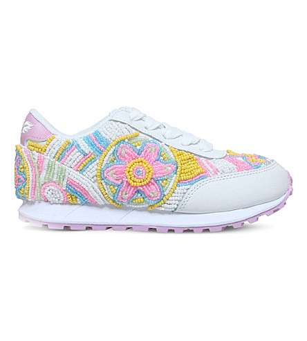 LELLI KELLY Sneakerissima beaded leather trainers 3-9 years (White/oth
