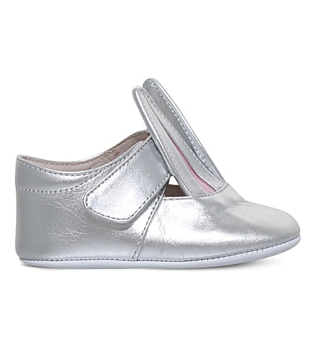 MINNA PARIKKA Bunny ear metallic leather ballerinas 0-12 months (Silver