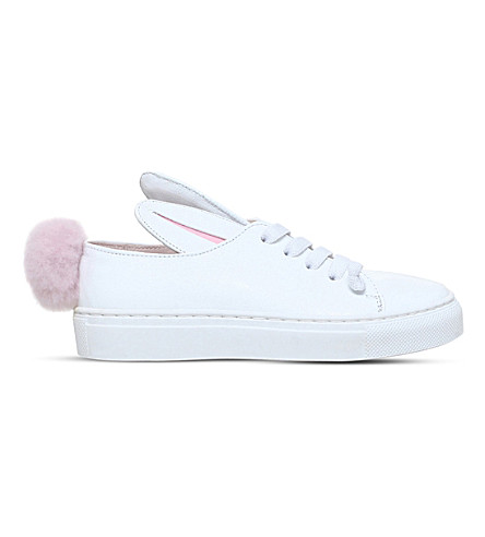 MINNA PARIKKA Tail leather and faux-fur sneakers 2-9 years (White