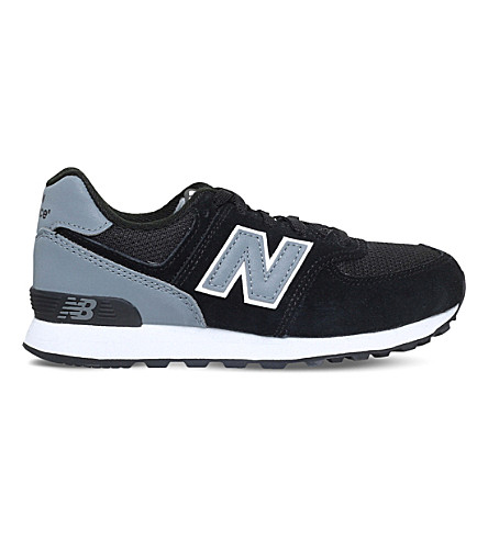 NEW BALANCE 574 suede and mesh trainers 6-9 years (Blk/grey