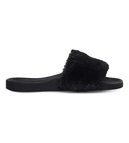 MINI MISS KG Mini Koat faux-fur sliders 4-7 years (Black