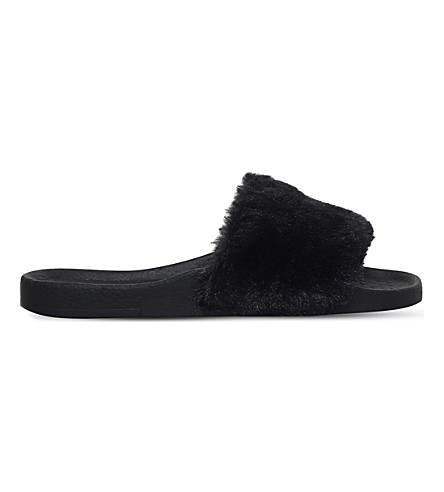 MINI MISS KG Mini Koat faux-fur sliders 7-9 years (Black