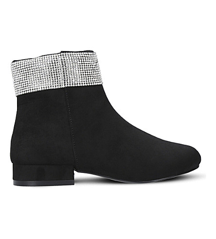 MINI MISS KG Bling Bling suedette ankle boots 5-7 years (Black