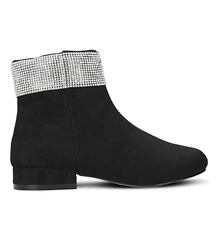 MINI MISS KG Bling Bling suedette ankle boots 7-10 years (Black
