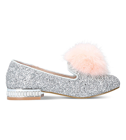MINI MISS KG Mini Lap glitter-embellished loafers 5-7 years (Silver
