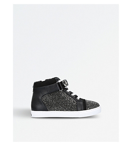 MINI MISS KG Jewel embellished high-top trainers 3-7 years (Black